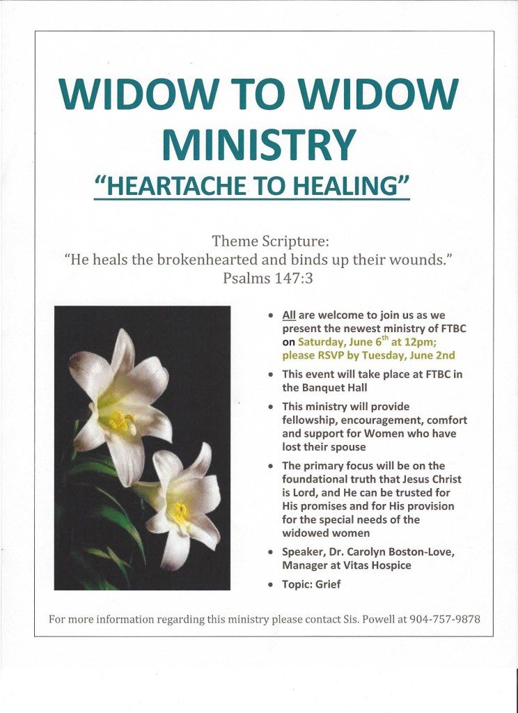 Widow to Widow Ministry Flyer